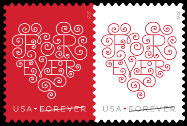 US 2015 Love Forever Valentine's Day stamp