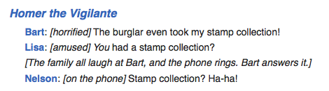 The Simpsons stamp collection quote