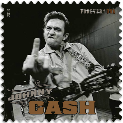 Punk Philatelist Johnny Cash Flips The Bird stamp