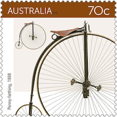 Australia 2015 Bicycles 70c 1888 penny farthing stamp