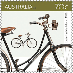 Australia 2015 Bicycles 70c 1910 Ladies' safety bike stamp