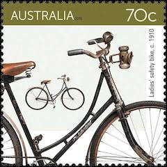 Australia 2015 Bicycles 70c 1910 Ladies' safety bike stamp