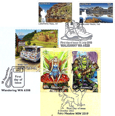 Australia servicable FDI postmark collage