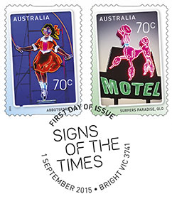 Australia 2015 Signs Of The Times Bright FDI postmark