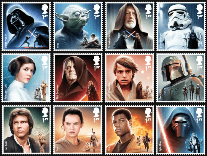 2015 UK Star Wars Characters stamps
