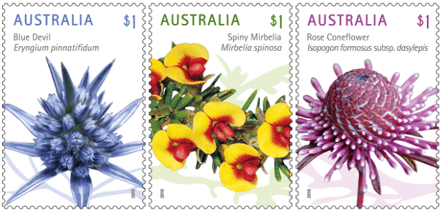 Australia 2015 Wildflowers $1 stamps