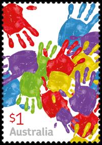 Australia 2016 Love To Celebrate handprints stamp