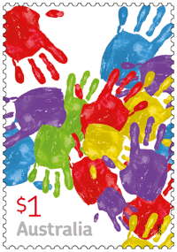 Australia 2016 Love To Celebrate handprints stamp