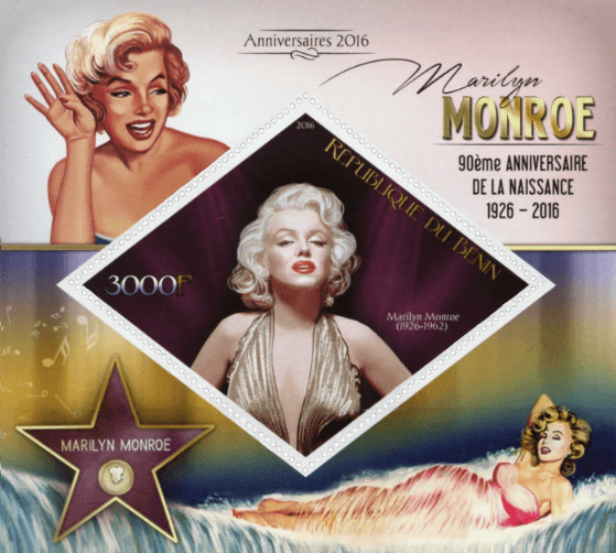 Benin 2016 90th Anniversary of the birth of Marilyn Monroe minisheet