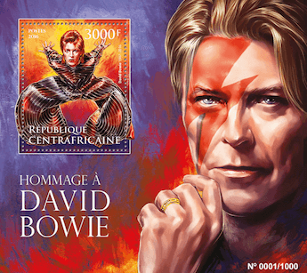 Central African Republic 2016 Homage to David Bowie 3000f minisheet