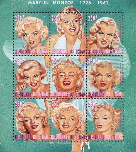 Chad 1996 Marilyn Monroe sheetlet