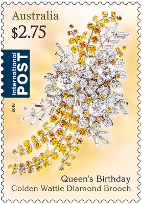 Australia 2016 Queen's Birthday $2.75 Golden Wattle Diamond Brooch