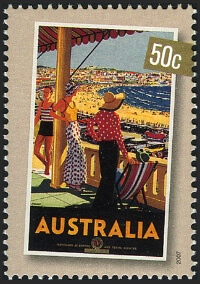 Australia 2007 Nostalgic Tourism 50c At The Beach Percy Trumpf stamp