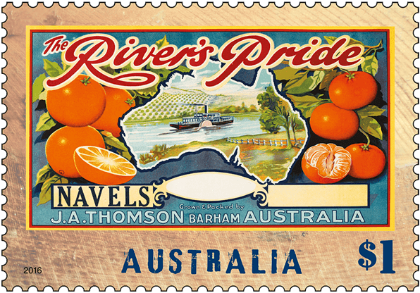 Australia 2016 Nostalgic Fruit Labels $1 River's Pride stamp