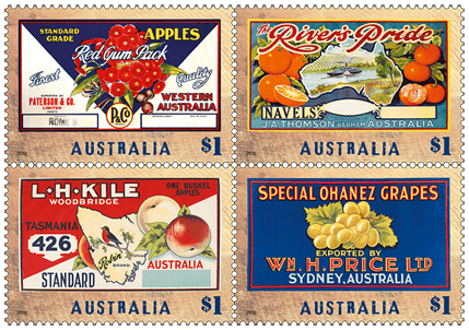 Australia 2016 Nostalgic Fruit Labels stamp set