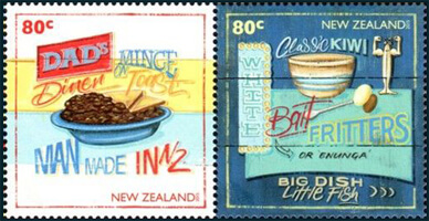 NZ 2015 Kiwi Kitchen 80c Dad's Diner stamp & 80c Classic Kiwi Bait Fritters stamp