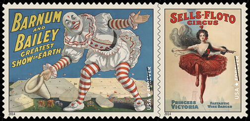 US 2014 Vintage Circus Posters Forever stamps