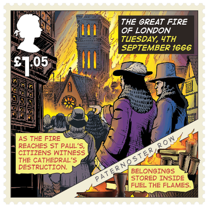 UK 2016 £1.05 Great Fire of London Paternoster Row stamp
