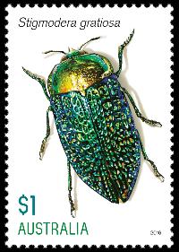 Australia 2016 Jewel Beetles $1 Stigmodera gratiosa stamp