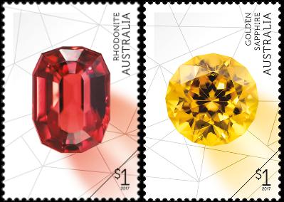 Australia 2017 Rare Beauties $1 Rhodonite and $1 Golden Sapphire stamps