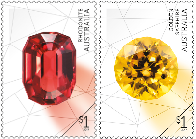 Australia 2017 Rare Beauties $1 Rhodonite and $1 Golden Sapphire stamps