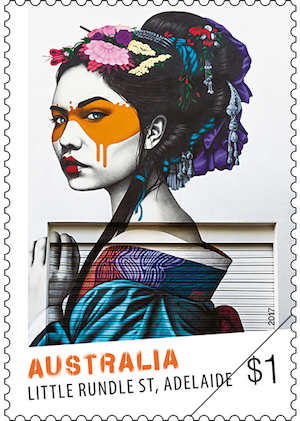 Australia 2017 Street Art $1 Fin DAC Little Rundle Street stamp