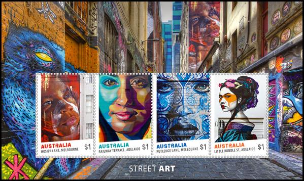 Australia 2017 Street Art $4 miniature sheet