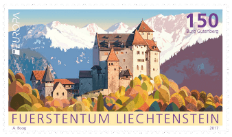 Liechtenstein 2017 Europa 1.50f Gutenberg Castle stamp