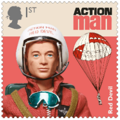 UK 2017 Classic Toys 1st Action Man Red Devil stamp