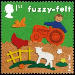 UK 2017 Classic Toys 1st Fuzzy-felt stamp