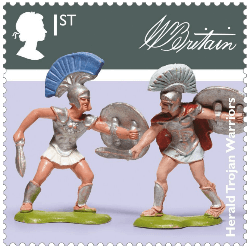 UK 2017 Classic Toys 1st Herald Trojan Warriors stamp