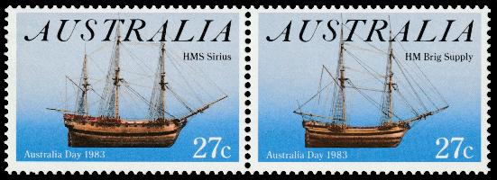 Australia 1983 Australia Day First Fleet ships 27c stamp pair