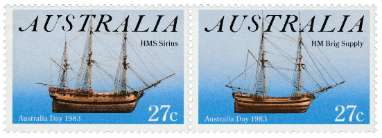 Australia 1983 Australia Day First Fleet ships 27c stamp pair