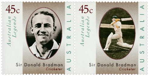 Australia 1997 Australian Legends Don Bradman 45c stamp pair