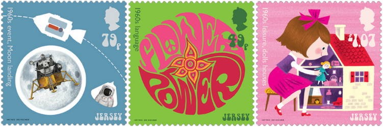 Jersey 2017 Popular Culture: The 1960s - moon landing, language, leisure stamps