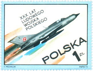 Poland 1973 30th Anniversary of Polish People's Army 1zl MiG-21 D fighter stamp