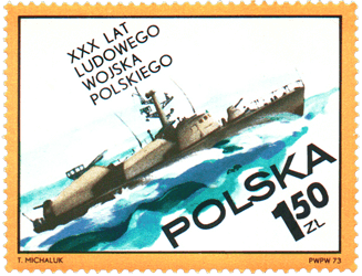 Poland 1973 30th Anniversary of Polish People's Army 1.50zl Osa-class missile boat stamp