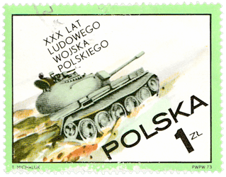 Poland 1973 30th Anniversary of Polish People's Army 1zl T-55 tank stamp