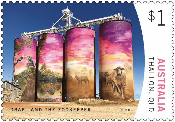Australia 2018 Silo Art $1 Thallon Drapl and The Zookeeper stamp