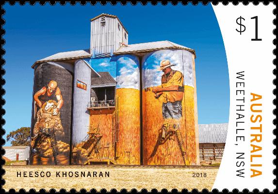 Australia 2018 Silo Art $1 Weethalle Heesco Khosnaran stamp