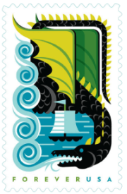 USA 2018 Dragons Black Forever stamp