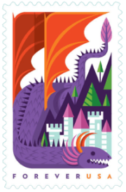 USA 2018 Dragons Purple Forever stamp