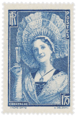France 1938 300th Anniversary of the Birth of Dom Pierre Pérignon - Traditional Costume of Champagne 1.75F stamp