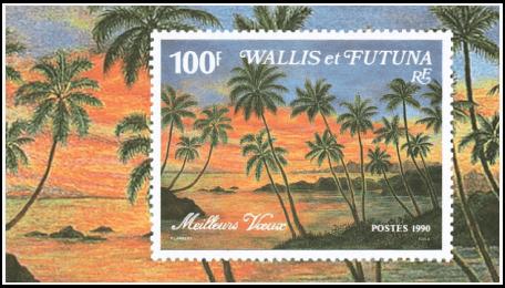 Wallis and Futuna 1990 100F Best Wishes miniature sheet