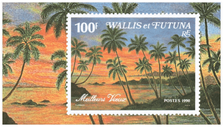 Wallis and Futuna 1990 100F Best Wishes miniature sheet