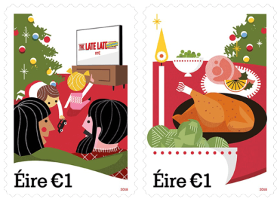 Ireland 2018 Christmas €1 Late Late Toy Show and Brussels Sprouts stamps