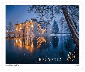 Switzerland 2018 85F Christmas Winter Scene stamp