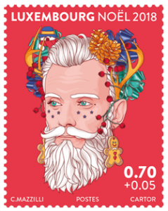 Luxembourg 2018 Christmas €0.70c + €0.05 Mr Winter Joy stamp