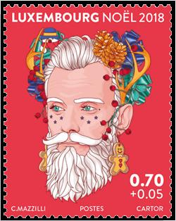 Luxembourg 2018 Christmas €0.70c + €0.05 Mr Winter Joy stamp