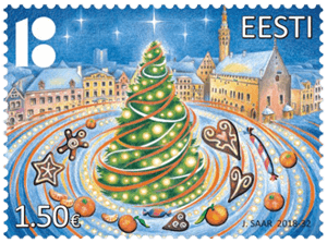 Estonia 2018 Christmas €1.50 tangerine scented stamp